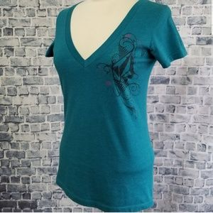 Volcom Blue Fitted Short Sleeve Vee Neck Logo Tee